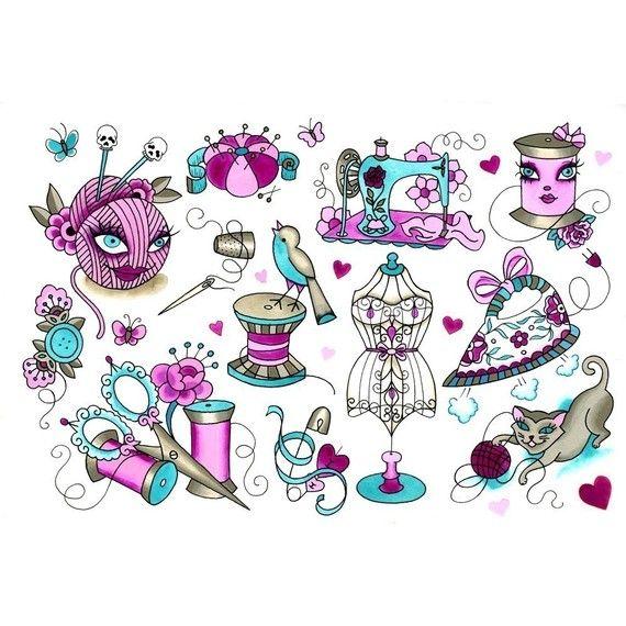 cute sewing tattoo flash