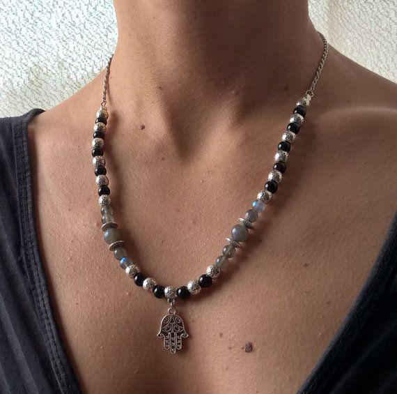 Natural stone necklace Genuine rainbow Moonstone & black by AnuanA