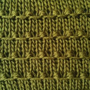 """#Knitting #Stitch - Tiny Bobbles Stitch - So simple and so pretty! Pattern is 4 rows of stockinette and only 2 rows of a very easy increase/decrease stitch. I'll be trying this soon and coming up with some variations!"" #KnittingGuru http://www.KnittingGuruDesigns.blogspot.com"