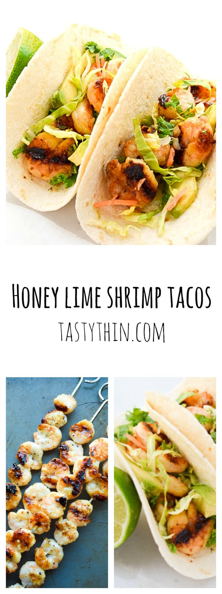 Honey Lime Shrimp Tacos - honey, lime, and garlic marinated shrimp topped with slaw and avocado. | tastythin.com