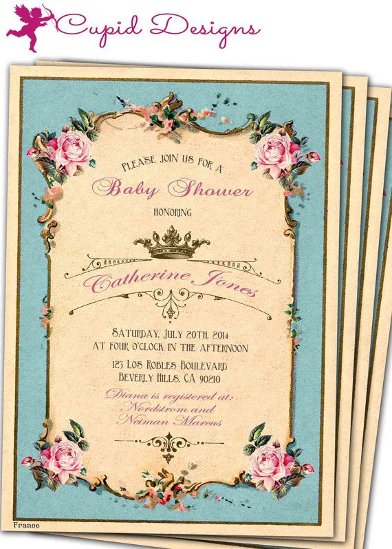 French Royal Tiffany Blue Pink Vintage Baby Shower Invitation Birthday Printable Diy On Etsy 18 00 My Secret Invitations