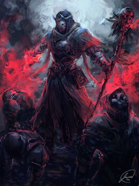 Necromante das terras ocidentais. Os necromantes são magos espirituais que cederam ao poder, são capazes de ressuscitar os mortos e roubar a vida das pessoas para usar de fonte de poder.