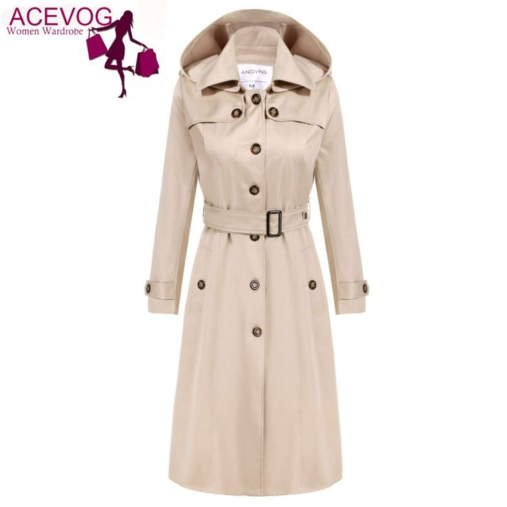 Cheap trench coat women, Buy Quality long trench coat women directly from China long trench coat Suppliers: ACEVOG Trench Coat Women Long Hoodies OL Ladies Long Sleeve Single Breasted Autumn Winter Trench Windbreaker Outerwear
