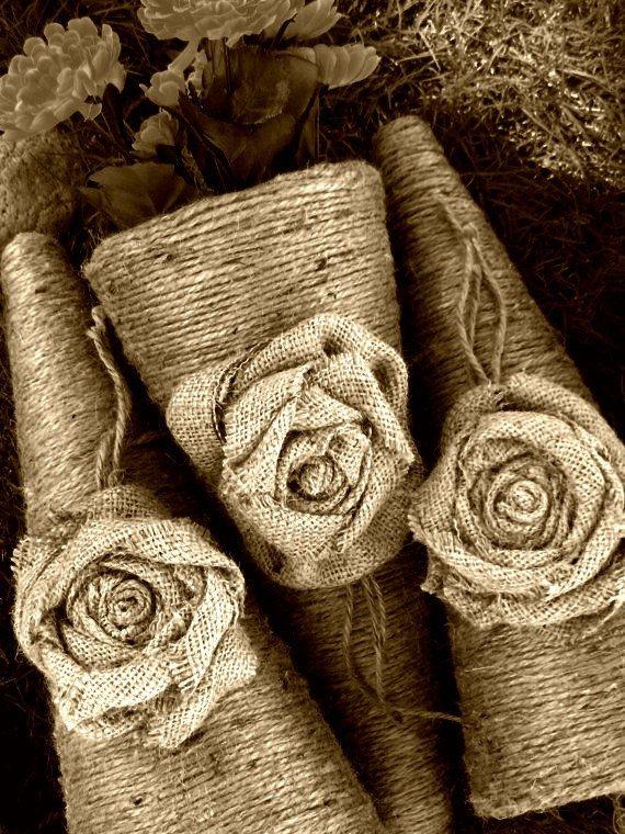 Burlap/Jute Flower Cones: Farms Houses, Twine Flowers, Burlap Jut Flowers, Burlap Flowers, Flowers Cones, Burlap Rose, Burlap Wedding, Decor Flowers, Rustic Wedding
