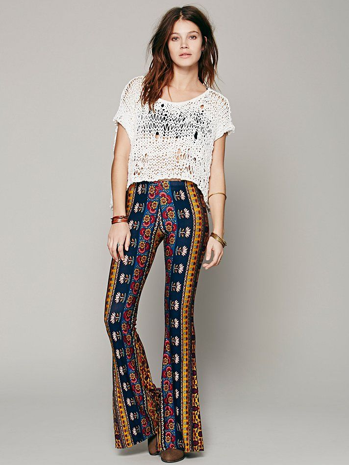 Free People Border Print Bell Bottoms, $148.00