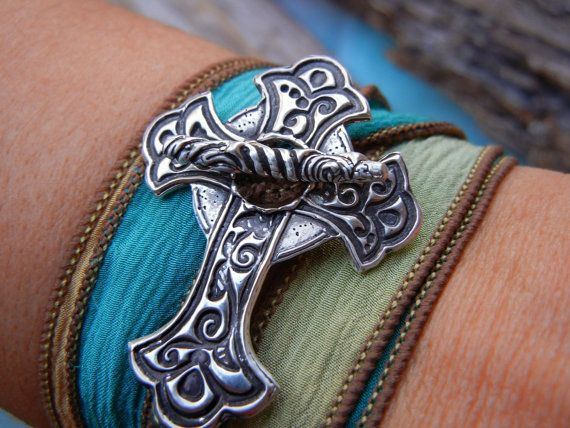 HAVE FAITH.... NEW Silver Cross Silk Wrap Bracelet by HappyGoLickyJewelry.com HAVE FAITH