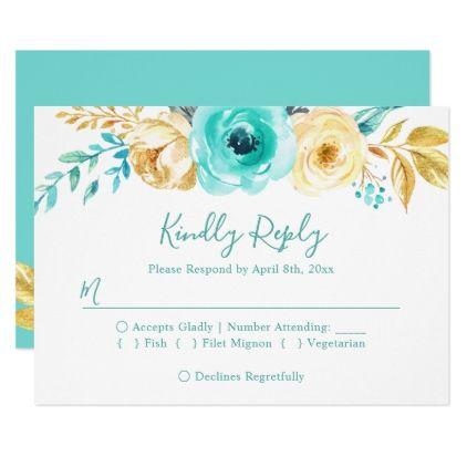 Trendy Turquoise Gold Floral Wedding RSVP Reply Card - gold wedding gifts customize marriage diy unique golden