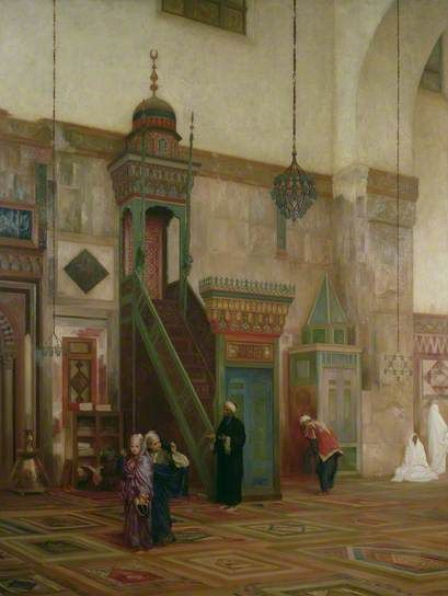 Interior of the Grand Mosque, Damascus  -   Frederic Leighton  (1870-1896)