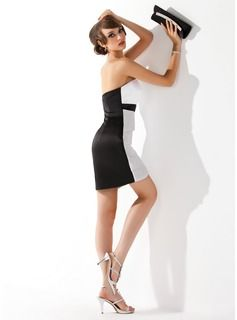 Tubo Coração curto comprimento Cetim Vestido de cocktail (016008560) - JJsHouse