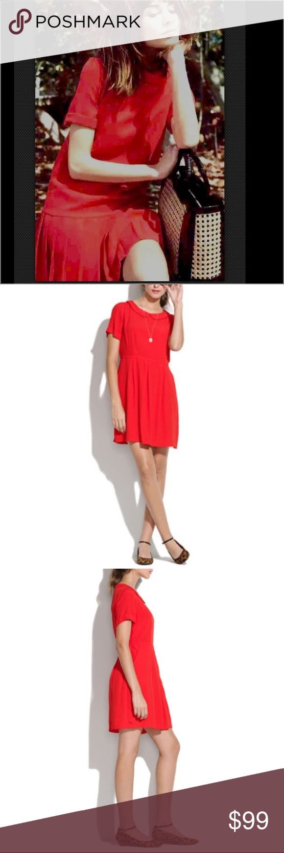 NEW Alexa Chung madewell red pan collar silk dress Incredibly RARE  Madewell Sodashop Dress  Sold out for $148