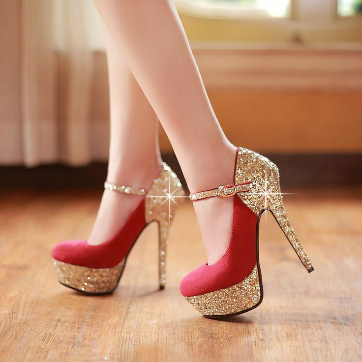 Fashionable elegant sequins wedding high heels