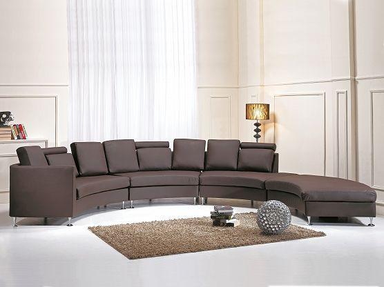 Ronde bank bruin - leren bank - leren sofa - lederen bank - ROTUNDE
