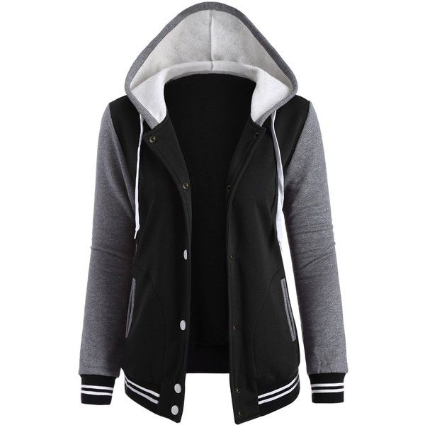 Contrast Sleeve Fleece Baseball Hoodie Jacket ($20) ❤ liked on Polyvore featuring outerwear, jackets, baseball jacket, fleece baseball jacket and fleece jacket