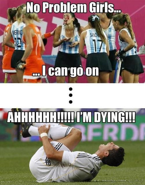 Sports girls vs boys! At my school there's this one kid that acts like the guy in the picture. One day he actually hurt himself and I didn't believe him so I started laughing. Everyone gave me a stupid look!