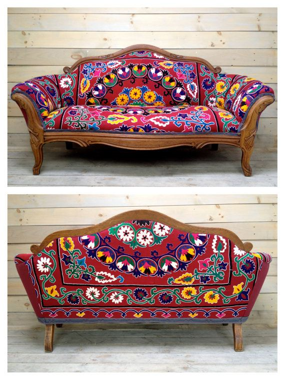 Vintage Carved Settee Reupholstered with Antique Red by chezboheme
