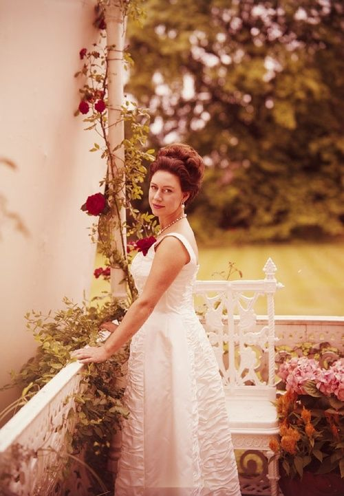 Princess Margaret, Countess of Snowden tending to the flowers in her garden at Kensington Palace.