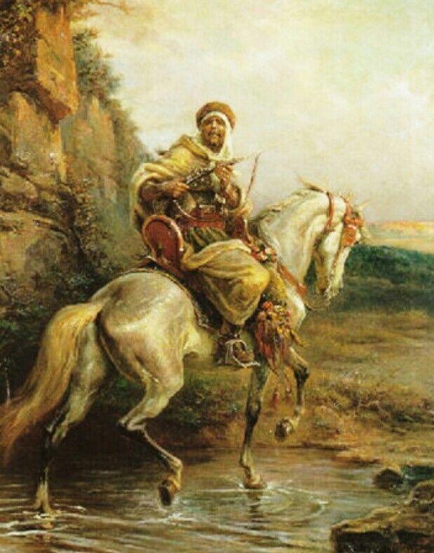 Algérie - Peintre Français  Henri Félix Emmanuel Philippoteaux(1815–1884), huile sur toile , Titre : Cavalier arabe