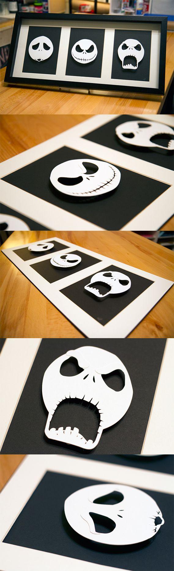Jack Skellington Heads - hand cut 3D paper craft in shadowbox  willpigg.etsy.com