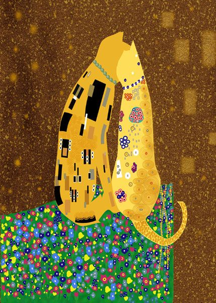 """Klimt"" (inspired) kitties (from calendar illustration)"
