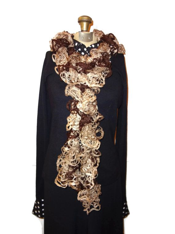 Ruffle Scarf  Brown and Tan Handmade Knitted by chrysalisjewelrytx, $20.00