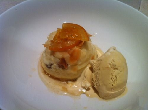 Bread and butter pudding with caramel semifreddo   I made as part of trade school assessment
