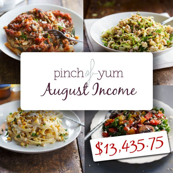 Pinch of Yum Income Report - August 2013
