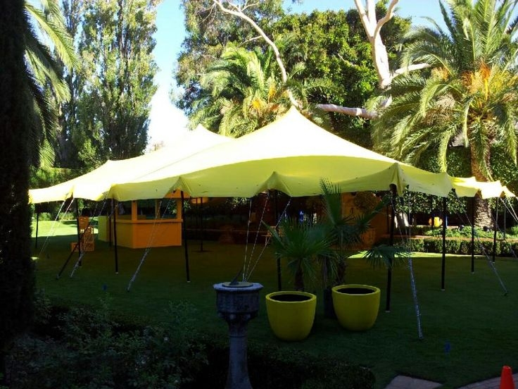 Bright yellow freeform marquee for a private function at home