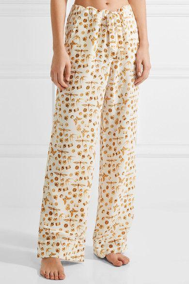 Equipment - Avery Printed Washed-silk Pajama Set - White -