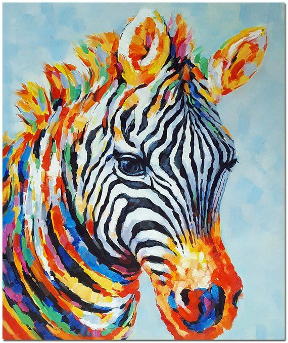 Hand Painted Modern Impressionist Zebra Painting On Canvas