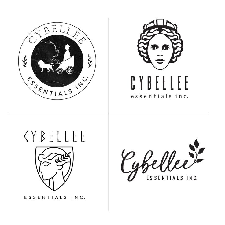 Essential oils logo design. Simple goddess logo design. Leaf logo design. Circle logo. Black and white. Modern brands.