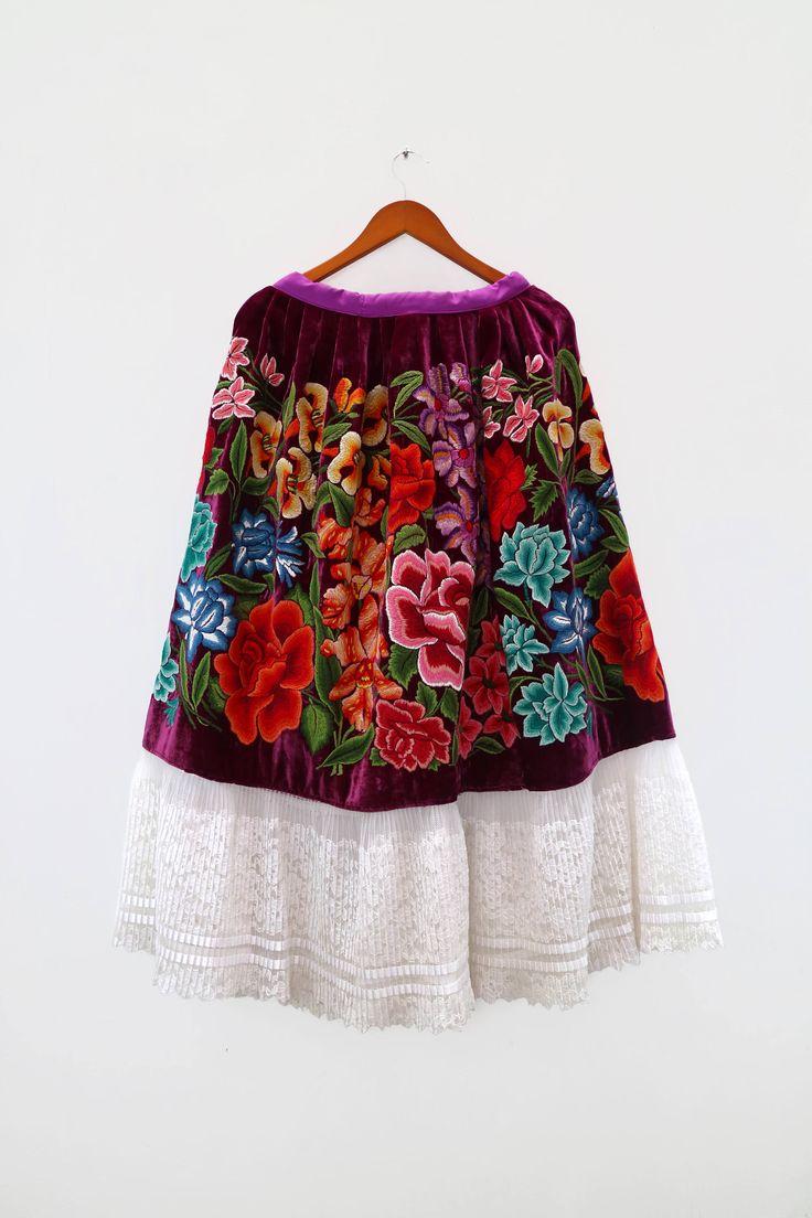 Falda de fiesta, estilo Frida Kahlo, mexican style, Tehuantepec, México (F500) de shkaalacoleccion en Etsy