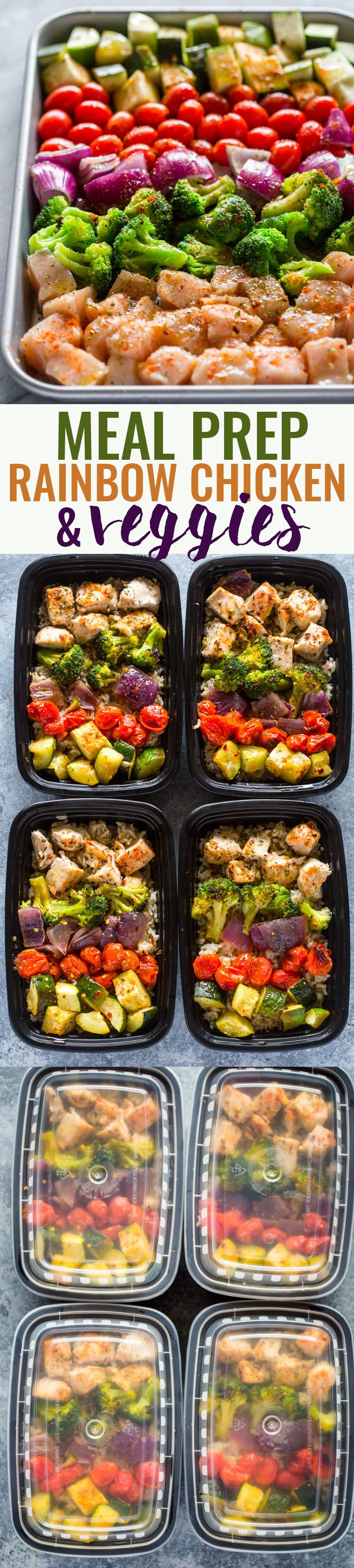 Is it getting hot in here, or is it just you? Preheat your oven and get to roasting your protein and veggies with this Meal Prep Rainbow Chicken and Veggies recipe!