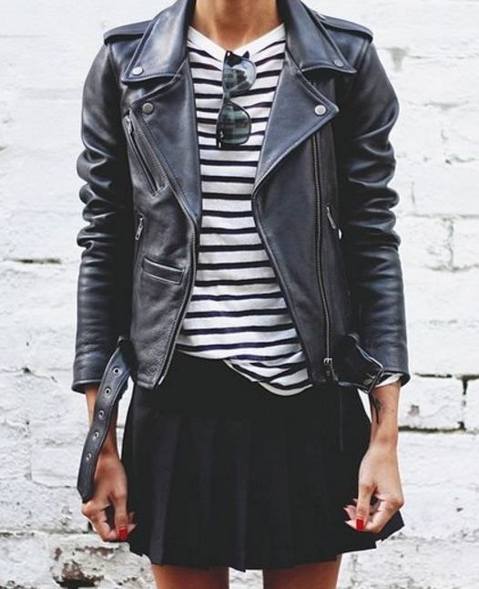 Stripes, black leather jacket, red nails, sunglasses, folded skirt