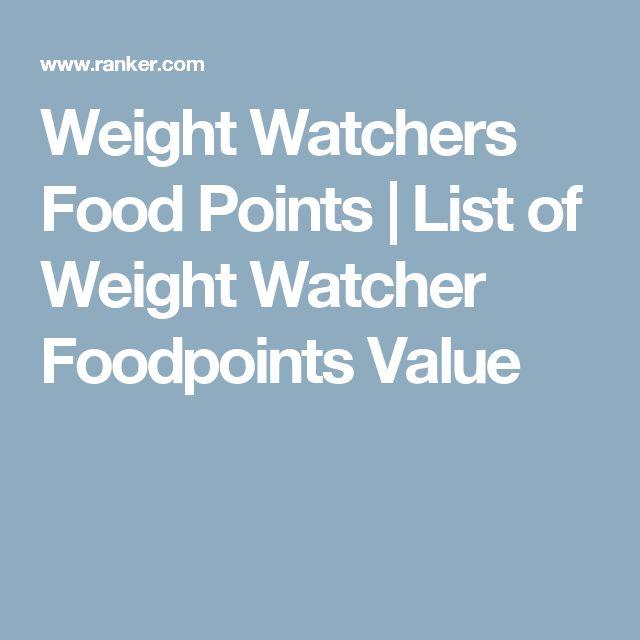 weight watchers food points list pdf