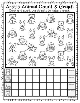 I hope your class enjoys this Arctic animal count and graph activity.  Students count the Arctic animals and color the correct number of spaces on their graph. They then write the number of how many of each object they counted.For an Arctic animal science unit, please see my unit:https://www.teacherspayteachers.com/Product/Arctic-Animals-Nonfiction-Text-and-Science-Journal-for-K-2-2281751
