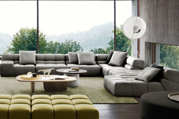 Tufty Time Sofa in grau und grün von B&B Italia