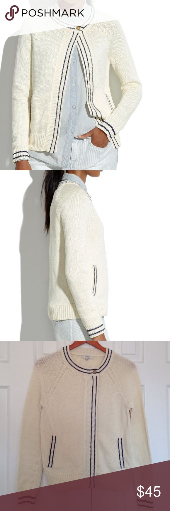 Madewell maritime cardigan Inspired by a vintage nautical cardigan, this stripe-tipped sweater has an unexpected (and so easy) zip-up front.  Cotton. Hand wash.   Look brand New. NO trade!!! Trade!!' Madewell Sweaters Cardigans