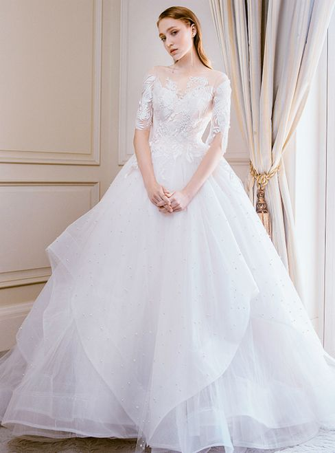 59931dcbaf367 Champagne Tulle Appliques Short Sleeve Backless Wedding Dress With Long  Train