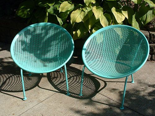 two vintage mid century modern design turquoise colored pod chairs - Mid Century Modern Patio Furniture