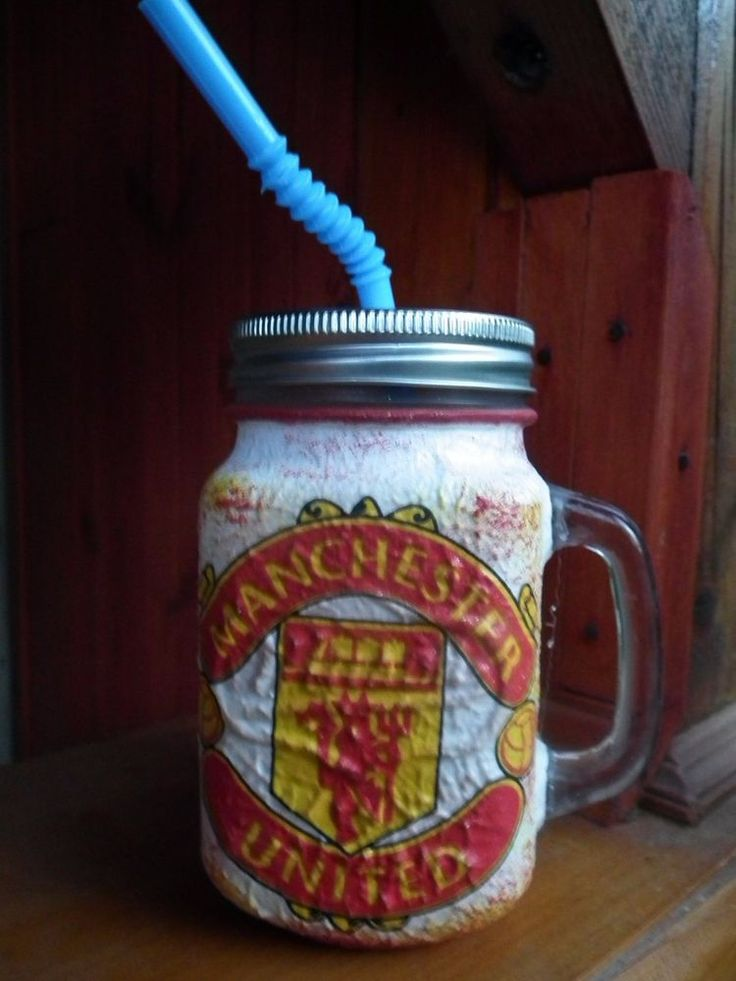 Unique decoupage handmade Football-Manchester United lemonade bottle or bier mug | Sports Mem, Cards & Fan Shop, Fan Apparel & Souvenirs, Soccer-National Teams | eBay!