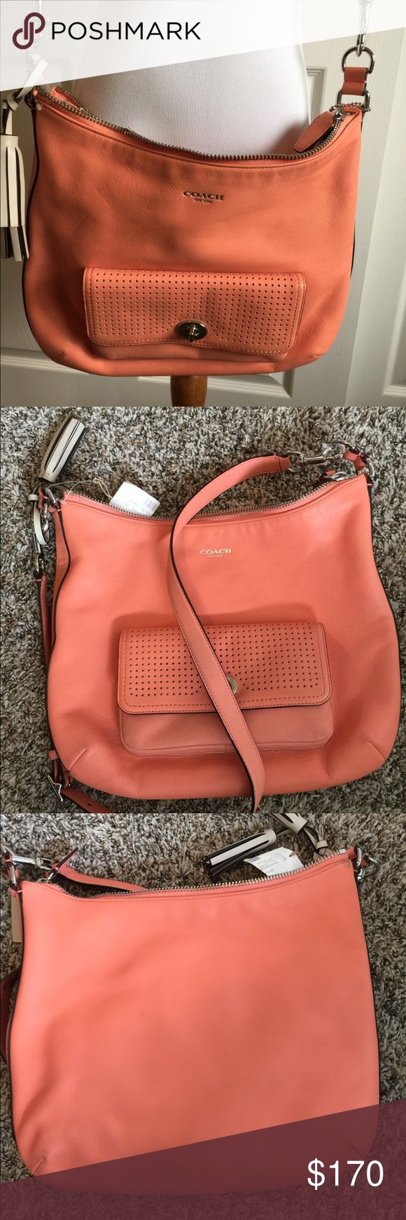 NWT Coach Legacy Hobo Bag Legacy Perforated Courtenay Hobo satchel  23704 Coral sand 13 x 11.5 x 3.25 Handle and cross body strap silver hardware with dust bag Coach Bags Shoulder Bags