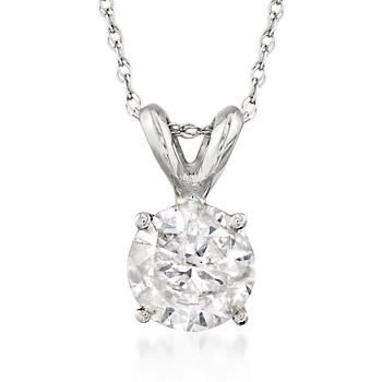 """Ross-Simons - 1.00 Carat Diamond Solitaire Necklace in 14kt White Gold. 18"""" - #468796"""
