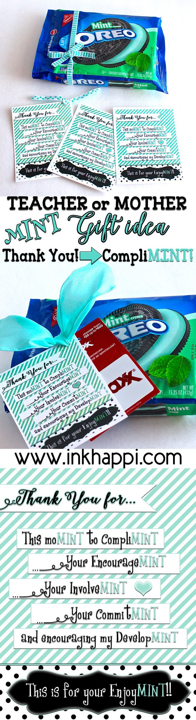 """Teacher Appreciation or Mother """"Minty"""" gift idea and free printable tags"""