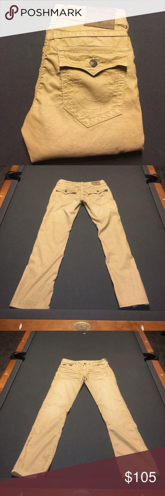 """Men's True Religion corduroy pants These men's true religion corduroy pants are 100% authentic and are NEW WITHOUT TAGS! I am selling these because I ordered them from Truereligion.com and they were too big and so I offered to sell them to a """"friend"""" and they took the tags off and did not buy them and so I couldn't send them back. NOTE- all True Religion Brand Jeans/Pants have a 35"""" inseam. If you have shorter legs you can hem them to fit unless you don't mind longer pant legs. True Religion…"""
