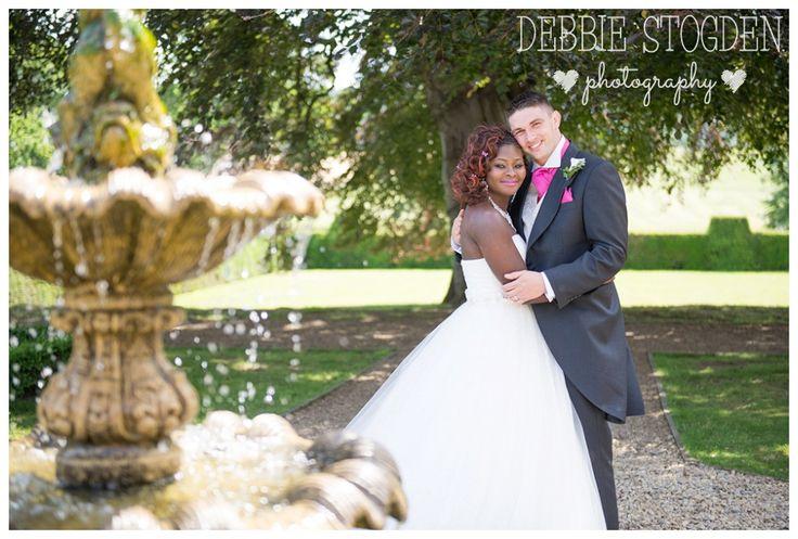 Bride and Groom at Gisborough Hall Hotel  #GisboroughHall #Wedding #Fountain
