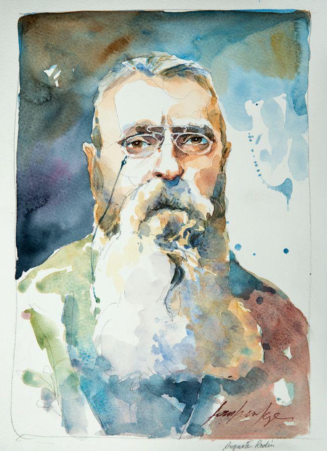 Auguste Rodin. Une série de portraits à l'aquarelle en hommage aux grands artistes du 19 ème au 20 ème siècle. Le lien vers mon blog : www.humericbox.com