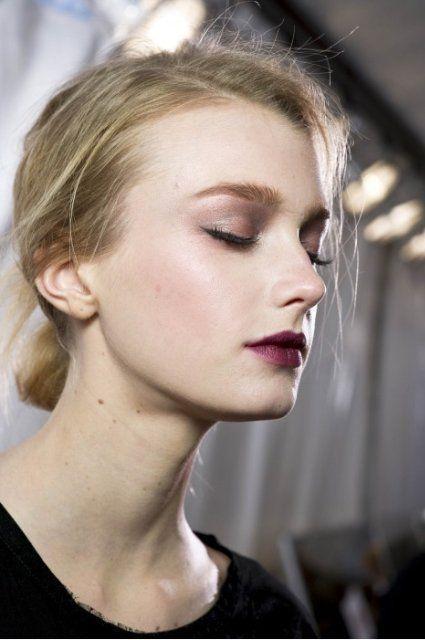 Dark Berry Matte lips long lashes runway look