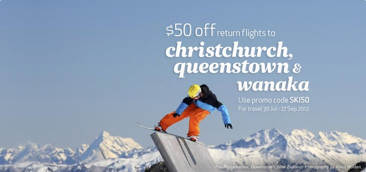 Ski-daddle South with $50 off return flights to Christchurch, Queenstown & Wanaka - hurry, book now as sale ends midnight tonight http://www.airnewzealand.co.nz/ski-nz
