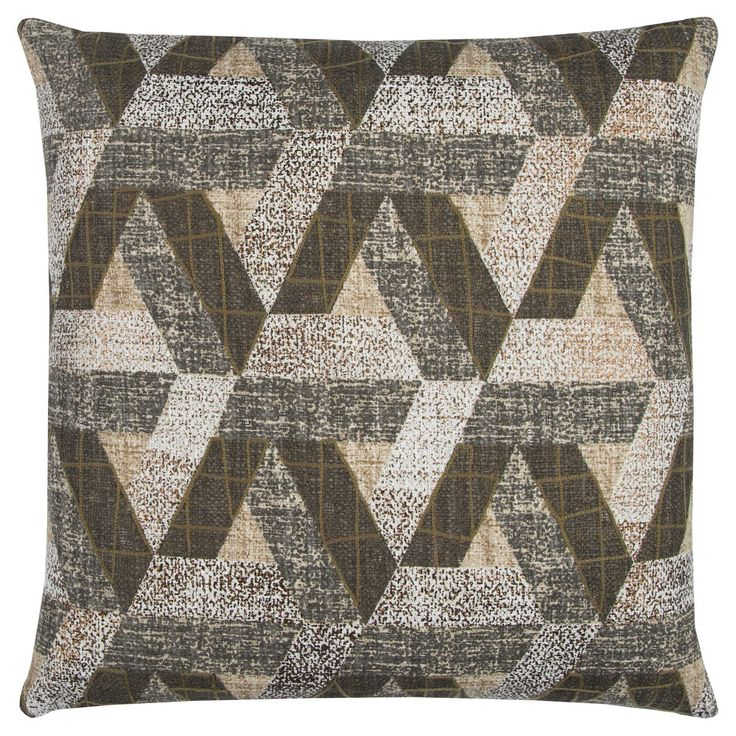 Rizzy Home Brown Geometric Throw Pillow