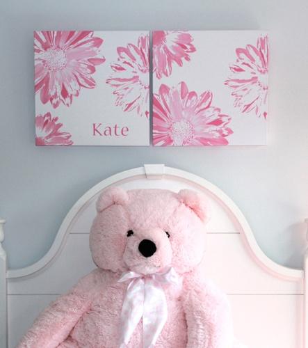 Pair of giclee print of canvas- custom designed for girls room. Laura Finnerty Design - www.laurafinnerty.com
